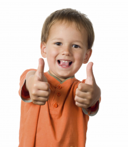 Thumbs up boy orange