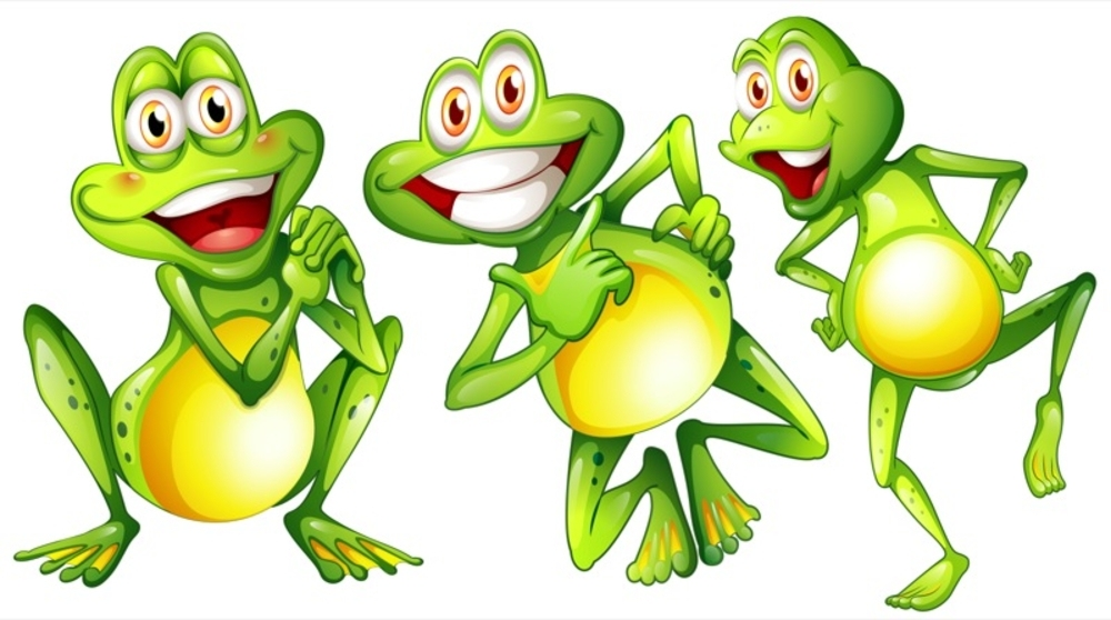 Illustration of the three smiling frogs on a white background