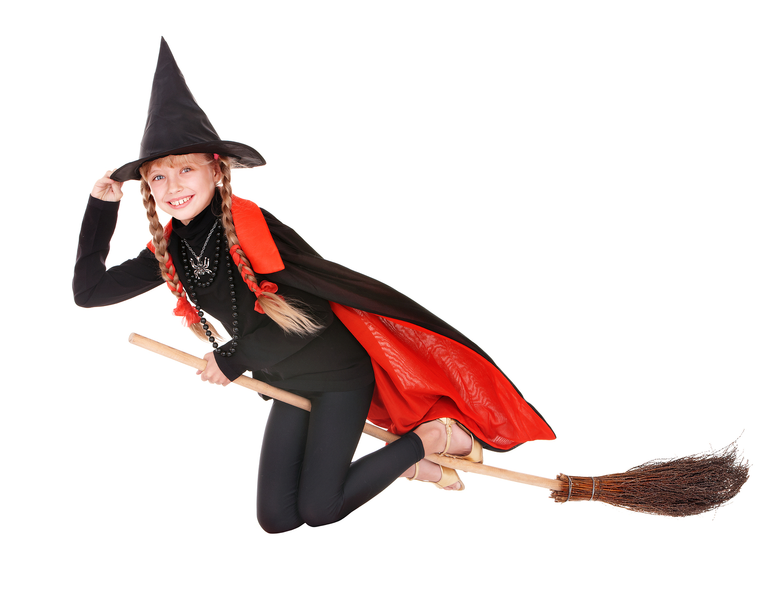 Little girl in costume Halloween witch in black dress and hat fl